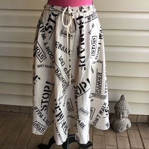 Vintage Phrases Skirt Tea Length A Line Feminism